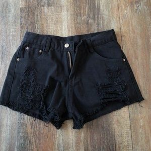 High waisted cut off shorts